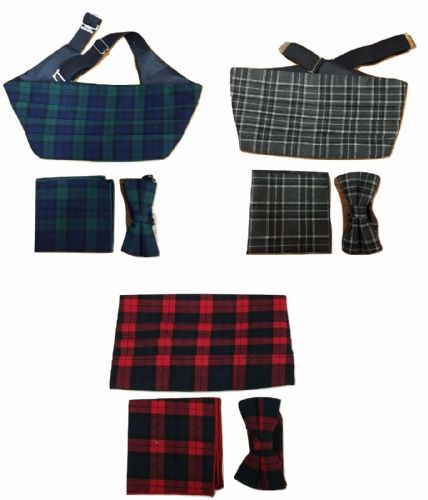 3 Pcs Set Tartan Bow Tie + Cummerbund + Pocket Square Hanky Cotton Scotland
